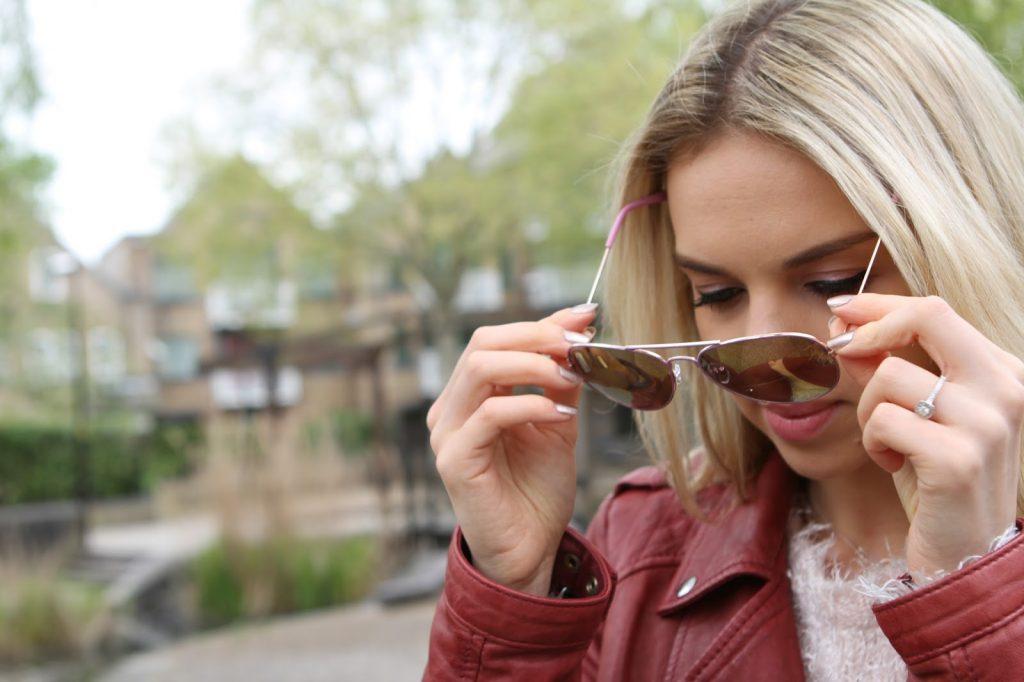 pink mirrored aviator sunglasses