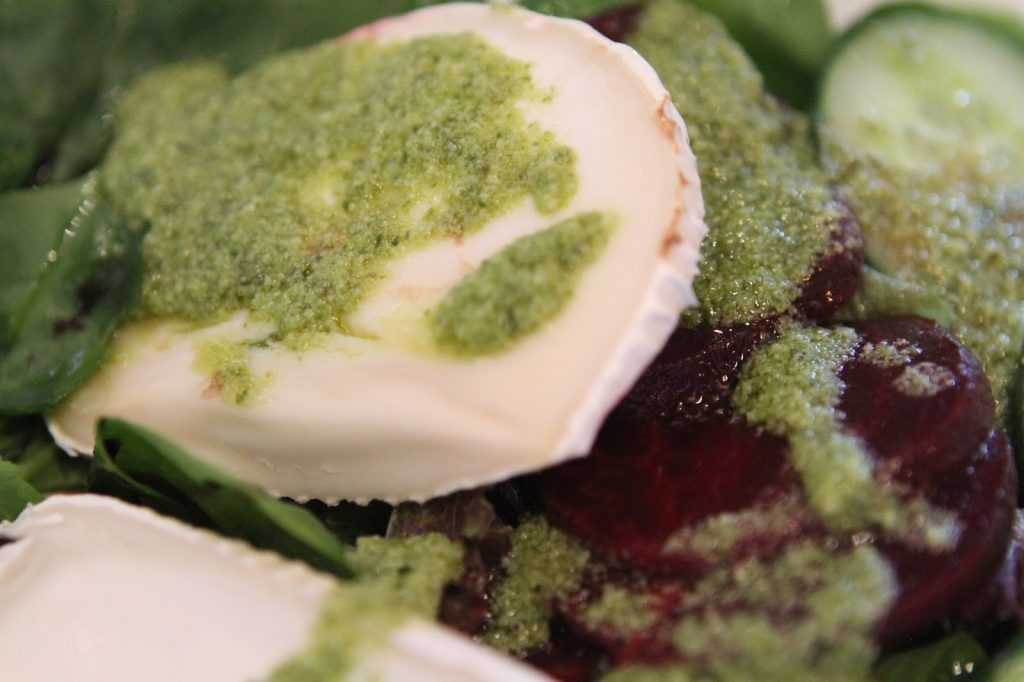 goats cheese, pesto and beetroot salad