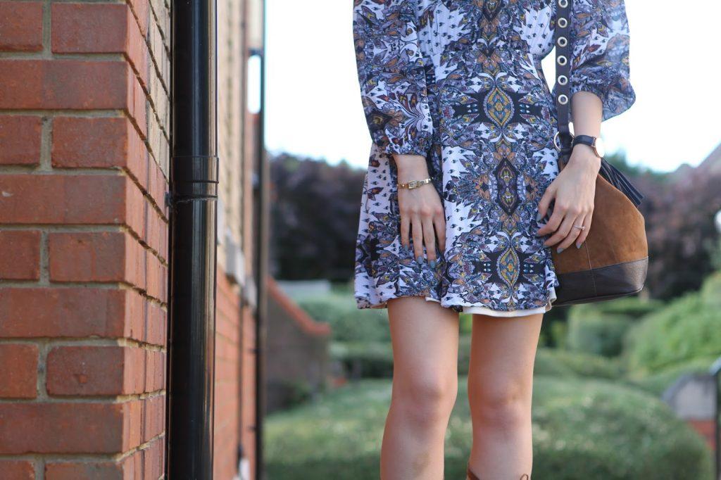 paisley dress and gladiator heels