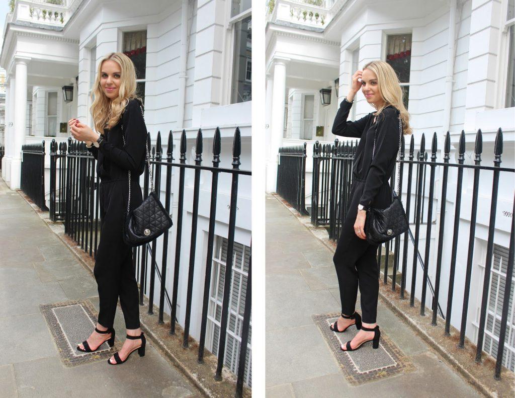 fashion blogger black jumpsuit