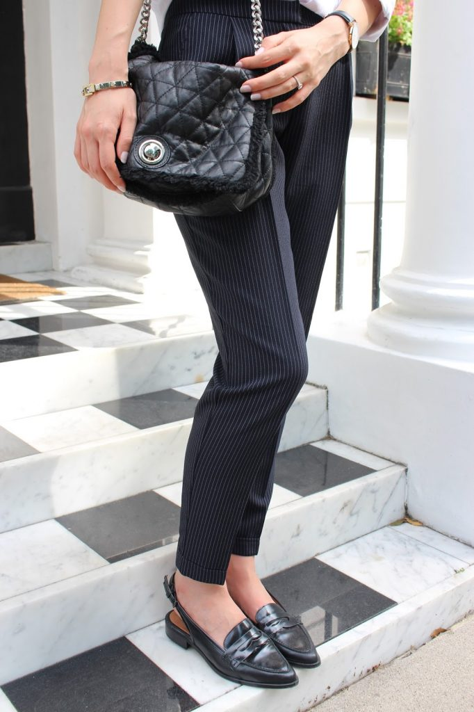 pinstripe trousers white shirt and loafers