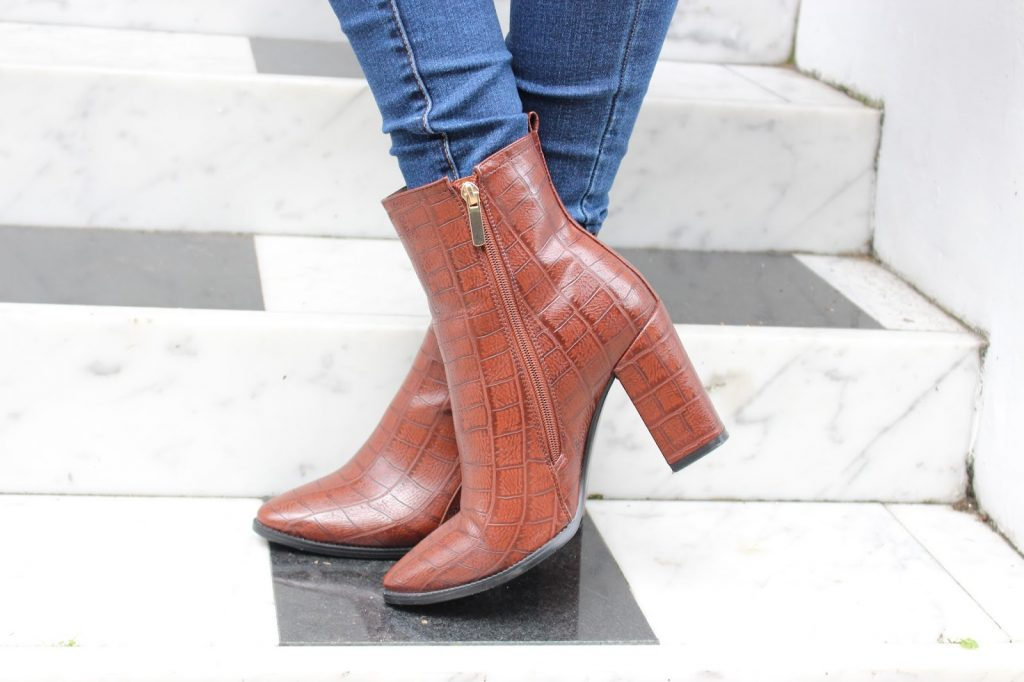 Linzi Stacee boots mock croc ankle boots